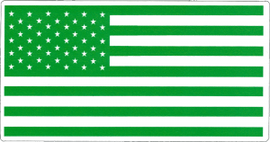 "Green Flag - Small Bumper Sticker / Decal (3.5"" X 1.75"")"