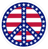 "Patriotic Peace Sign - Small Bumper Sticker / Decal (3.5"" Circular)"