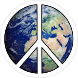 "Peace Sign Over Earth - Small Bumper Sticker / Decal (3.5"" Circular)"