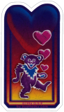 "Grateful Dead Bear & Hearts - Small Sticker / Decal (1.5"" X 2.75"")"