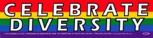 "Celebrate Diversity - Small Bumper Sticker / Decal (6"" X 1.5"")"