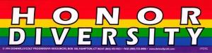 "Honor Diversity - Small Bumper Sticker / Decal (6"" X 1.5"")"