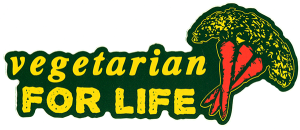 "Vegetarian for Life - Small Bumper Sticker / Decal (5.5"" X 2.25"")"