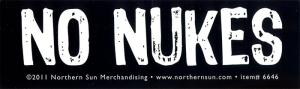 """No Nukes - Small Bumper Sticker / Decal (5"""" X 1.5"""")"""