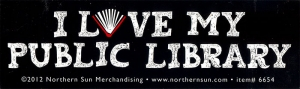 "I Love My Public Library - Small Bumper Sticker / Decal (5"" X 1.5"")"