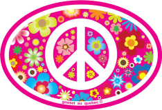 """Peace Sign on Hippie Flowers - Small Oval Bumper Sticker / Decal (3.5"""" X 5"""")"""