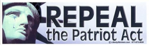 "Repeal The Patriot Act - Bumper Sticker / Decal (10.5"" X 3"")"