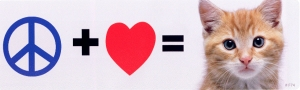 Peace + Love = Kitty - Bumper Sticker