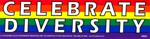 """Celebrate Diversity - Bumper Sticker / Decal (11.5"""" X 3"""")"""