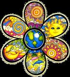 "Earth Flower - Bumper Sticker / Decal (4.5"" X 4.5"")"