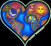 "Earth Heart - Bumper Sticker / Decal (4.5"" X 4.5"")"