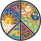 "Sun, Moon & Seasons Peace Sign - Bumper Sticker / Decal (4.5"" X 4.5"")"