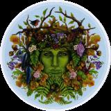 "Seasons Green Man - Bumper Sticker / Decal (4.5"" Circular)"