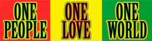 """One People One World One Love - Bumper Sticker / Decal (8.25"""" X 2.25"""")"""