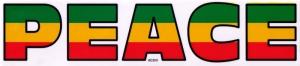 "Peace (Rasta Colors on Clear) - Bumper Sticker / Decal (8"" X 1.75"")"