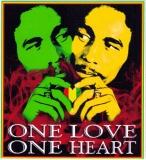 "One Love, One Heart - Bob Marley - Bumper Sticker / Decal (3.5"" X 3.5"")"