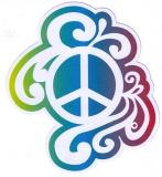 "Rainbow Peace Sign - Bumper Sticker / Decal (4"" X 4.5"")"