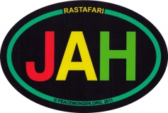 "Jah Rastafari - Bumper Sticker / Decal (6"" x 4"" Oval)"