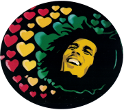 "Bob Marley Hearts - Bumper Sticker / Decal (4.5"" X 4"")"