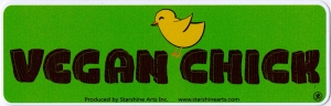 "Vegan Chick - Bumper Sticker / Decal (9"" X 2.5"")"