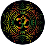 "Om Lotus (Rasta Colors on Black) - Bumper Sticker / Decal (4.5"" Circular)"