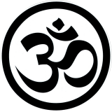 "Black & White Om Symbol - Bumper Sticker / Decal (4.5"" Circular)"