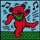 "Grateful Dead Dancing Bear (1 red bear) - Bumper Sticker / Decal (4"" X 4"")"