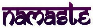"Namaste - Bumper Sticker / Decal (7.25"" X 2"")"