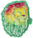 "Rasta Lion Batik - Bumper Sticker / Decal (4.75"" X 5.5"")"