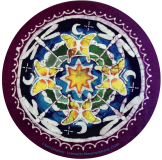 "Butterfly & Dragonfly Mandala Batik - Bumper Sticker / Decal (5"" Circular)"