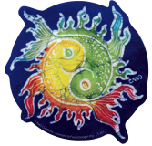 "Yin Yang Fish Batik - Bumper Sticker / Decal (5"" X 5"")"