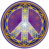 "Flower of Life Peace Symbol (gold) - Bumper Sticker / Decal (5"" Circular)"