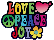 "Love Peace Joy - Bumper Sticker / Decal (5.5"" X 4"")"