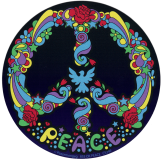 "Peter Max Pop Art Peace Symbol - Bumper Sticker / Decal (5"" Circular)"