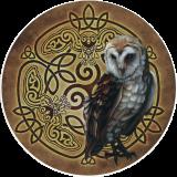 "Celtic Owl - Bumper Sticker / Decal (4.5"" Circular)"