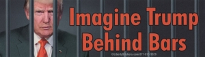 "Imagine Trump Behind Bars - Bumper Sticker / Decal (10.5"" X 3"")"