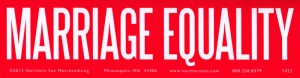 "Marriage Equality - Bumper Sticker / Decal (11.5"" X 3"")"