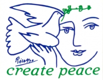 "Create Peace (w/ Picasso dove) - Mini-Sticker (3.25"" X 2.75"")"