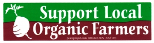 "MS127 - Support Local Organic Farmers - Mini-Sticker (5.25"" X 1.5"")"