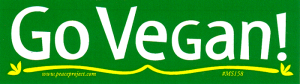 "Go Vegan - Small Bumper Sticker / Decal (5"" X 1.5"")"