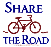 """MS166 - Share the Road - Small Bumper Sticker / Decal (3"""" X 3"""")"""