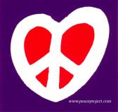 "Purple and Red Peace Symbol Heart - Small Bumper Sticker / Decal (3"" X 2.75"")"