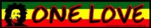 "One Love - Bob Marley - Small Bumper Sticker / Decal (6.75"" X 1.5"")"