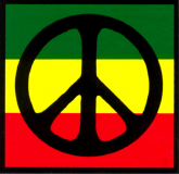 "MS180 - Peace Sign over Rasta Colors - Small Bumper Sticker / Decal (3"" X 3"")"