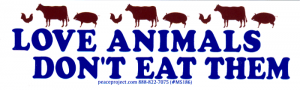 "Love Animals Don't Eat Them - Small Bumper Sticker /Decal (5"" X 1.5"")"