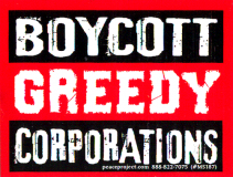 "Boycott Greedy Corporations - Small Bumper Sticker / Decal (3.25"" X 2.25"")"
