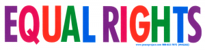 "Equal Rights - Small Bumper Sticker / Decal (6"" X 1.5"")"