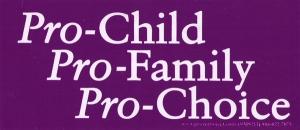 "Pro-Child Pro-Family Pro-Choice - Bumper Sticker / Decal (6"" X 2.5"")"