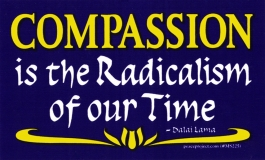 Compassion is the radicalism of our time. - Dalai Lama - Small Bumper Sticker