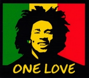 "One Love Rasta Colors with Bob Marley - Small Bumper Sticker / Decal (3.5"" X 3"")"